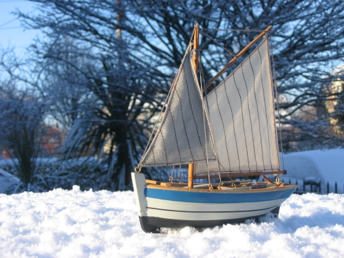 snowy sailboat